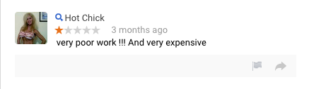 Example of a Fake Poor Review