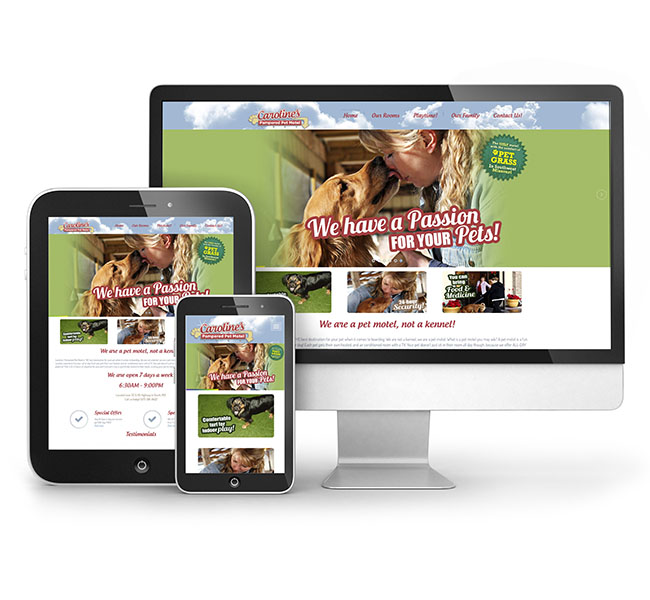 Web Design - Caroline's Pampered Pet Motel Website