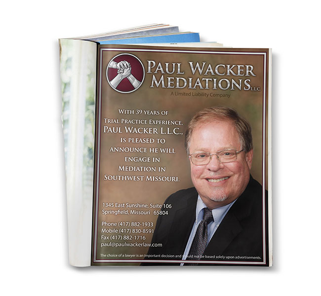 Paul Wacker Mediations Magazine Ad
