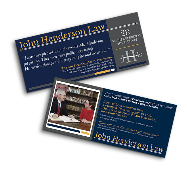 Red Crow Marketing - Graphic Design - John Henderson Law Personal Injury Cards