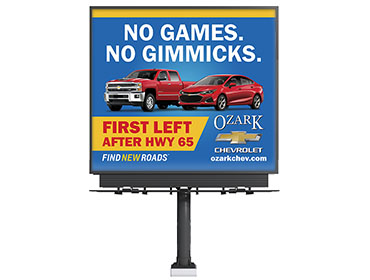 Ozarks Chevrolet No Games No Gimmicks Billboard