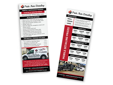 Red Crow Marketing Portfolio Print Pride Auto Detailing Rate Card TN