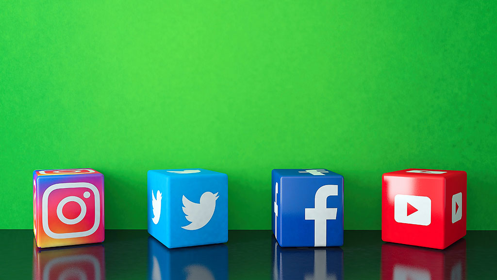 Social Media Icons Displayed On Boxes